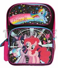 """MY LITTLE PONY BACKPACK! BLACK COLORFUL MAGICAL FRIENDS SCHOOL BOOK BAG 16"""" NWT"""
