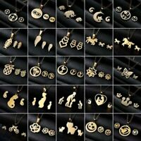 Charm Gold Stainless Steel Jewelry Set Women Pendant Necklace Earrings Wedding