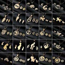 Charm Gold Stainless Steel Jewelry Set Women Pendant Necklace Earrings Wedding