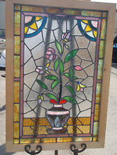 """Sale!! Antique Stained Glass Window fully restore w wood frame 33.3/4"""" X 23.1/4"""