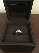GUCCI SOLID 18K WHITE GOLD & SPARKLING DIAMONDS BAND RING SZ 6
