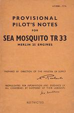 DE HAVILLAND SEA MOSQUITO TR.33 - PROVISIONAL PILOT'S NOTES A.P. 4088A - P.P.N