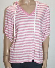 Hot Options Brand Pink White Strip 3/4 Sleeve Pullover Hoodie Size XL BNWT #SG23
