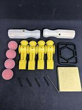 Tornado Foosball men-4 Yellow- w. roll pins, tool Kit, TR foosballs, 2 handles