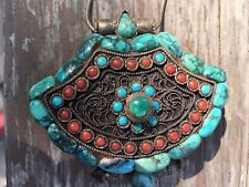 Antique Tibetan Prayer Box Sterling Silver Turquoise Coral 925 Gau Ghau