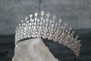 Royal Simulated Diamond Tiara 925 Sterling Silver Handmade Fine Hair Accessories