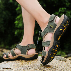 Mens Closed Toe Carved Outdoor Walking Water Shoes Athletic Hiking Sandals