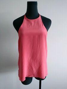 Bec & Bridge Coral Pink Silk Top Sleeveless cami Blouse halter neck AU 8 US 4 S
