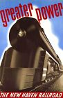 """Vintage Illustrated Travel Poster CANVAS PRINT New Haven Rail Train 24""""X18"""""""