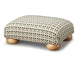 Biagi Upholstery & Design Black Dot Chenille Low Footstool & Natural Wood Feet
