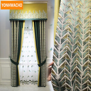 Nordic modern linen striped cloth blackout curtain tulle valance drapes N777