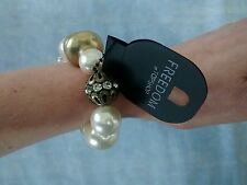 "Topshop ""Freedom"" Gold/Pearl/Brass/Diamanté Stretch Statement Bracelet BNWT"
