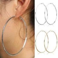 Women Fashion Jewelry Gold Silver Big Round Drop Dangle Hoop Earrings Gift