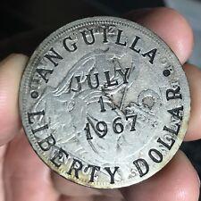 ANGUILLA COUNTER STAMP LIBERTY DOLLAR JULY 11 1967 ON 5 DECIMOS PERU 1924
