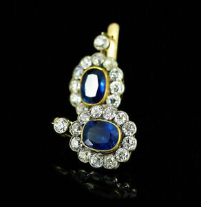 14k Yellow Gold Over 2.00 Ct Oval Sapphire & Diamond Antique Cluster Earrings