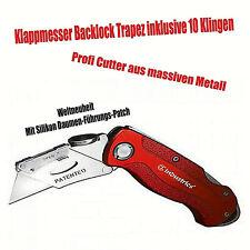 Klappmesser Cutter Messer Teppichmesser Metall Backlock Trapez 10 Klingen
