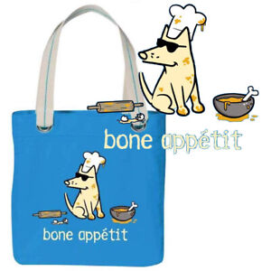 Teddy the Dog Tote Bag Bone Appetit Blue Canvas Limited Edition Gourmet Chef NWT