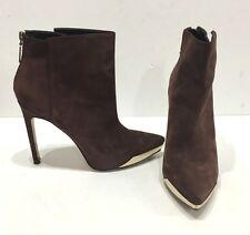 """RACHAEL ROY """"Giselle"""" Gold Metal Toe Boots Suede Brown Heels Sz 10 Euro 41"""