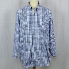 Tailorbyrd Blue Check Plaid 100% Cotton Long Sleeve Casual Shirt Men Sz 2XL EUC