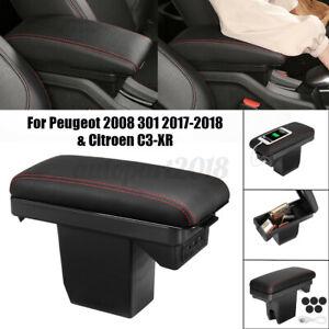 Accoudoir Console Central Boîte Rangement Rouge pour Peugeot 2008 301 2017-2018