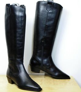M&S Real LEATHER Western style KNEE HIGH BOOTS ~ Size 6 ~ BLACK