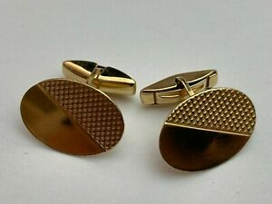 .375 9ct YELLOW GOLD Semi Engine Turned Oval Cufflinks, 3.4g Available Worldwide