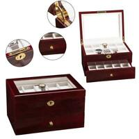 20 Slots Watch Box Wooden Display Case Organizer Top Glass Jewelry Storage Gifts