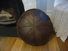 Beautiful Authentic Turkish Leather Ottoman Pouffe Pouf Footstool In Chocolate