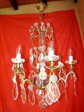 lustre bronze et cristal type à enfilage à 6 bras de lumière époque début 20éme