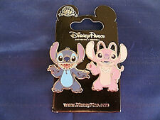 Disney * STITCH & ANGEL * 2 Pin Set * New on Card Very Cute Trading Pins
