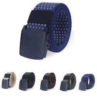 Mens Outdoor  Canvas  Waist Belt With Plastic Buckle Webbing Tactical Strap Wais