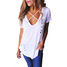 Women's Loose Casual Tops V Neck Cold Shoulder T-Shirt Criss Cross Summer Blouse