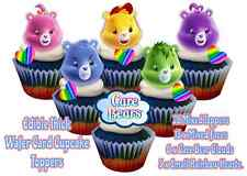 Edible Care Bears cloud rainbow hearts Birthday Wafer Card Stand up Cake Toppers