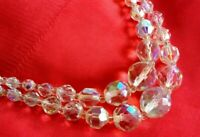 Vintage Necklace Aurora Borealis Double strand Round Faceted beads UK seller
