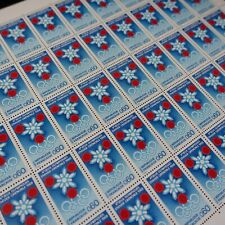 FEUILLE SHEET TIMBRE JEUX OLYMPIQUES GRENOBLE N°1520 x50 1967 NEUF ** MNH