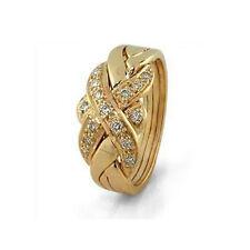 14k Yellow Gold 4 Band 0.17ct Diamond Puzzle Ring - FREE SHIPPING DHL