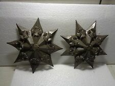 Vintage Mexican Folk Art Punched Tin Metal Star Ornament Lot Of 2
