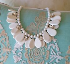 J.Crew Retail New $95 Dangling Teardrops Necklace Crystals Stones White Jewelry