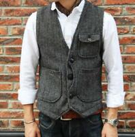 US Men's Wool Blend Vests Vintage Tweed Formal Dress Waistcoat Slim Fit Short