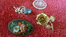 Lot of 4 Vintage Flowered Brooches from Grandmothers Estate signed ?