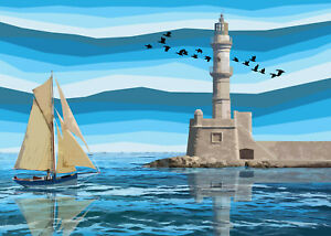 Chania Lighthouse Crete Limited Edition Print By Sarah Jane Holt