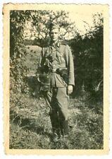 German soldier with Luger, WW2 Original Photo.