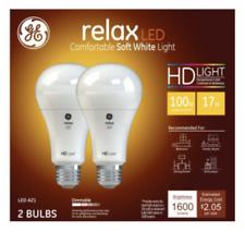 2 Pack GE Relax LED HD Light 100 Watt Replacement 17 Watt A21 Dimmable
