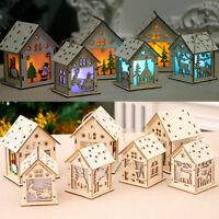 pièce décorative cabine noël wood house la pendaison lampe à led noël ornement