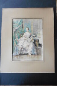 FRENCH SCHOOL 1896 - PORTRAIT ELEGANT LADY - LARGE SIZE WATERCOLOR SIGN. MONTIN