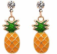 Pineapple earrings Crystal gold novelty kitsc  enamel summer tropical 577