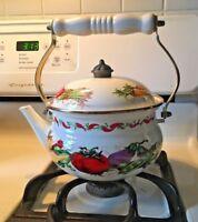 Vintage Teapot Kettle Enamel Metal Pot Vegetable Pattern Excellent Condition