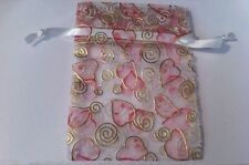 "14 Gold & Pink Hearts Valentine Organza Fabric Drawstring 3.5""x5"" Gift Bags"