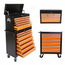 Portable Removable Top Chest Rolling Tool Storage Box Cabinet 16 Sliding Drawers