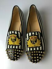 Christian Louboutin Intern Flat Spiked Toe Canvas Striped Loafers Euro 38.5